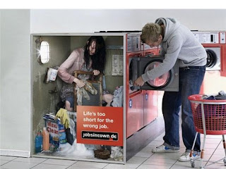 funny photos of woman inside washing machine at laundromat ad