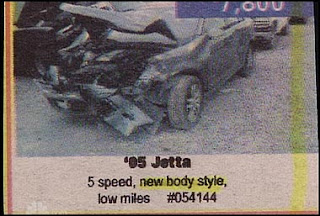 funny car photos of ad for volkswagen jetta new body style but all smashed up