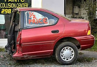 jokes and photos funny pic of half a car for sale for half price cheap