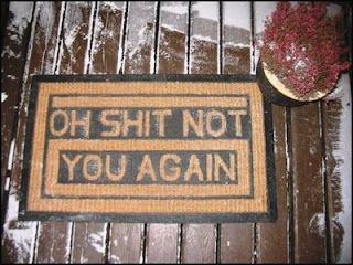 funny door mat photo oh shit not you again