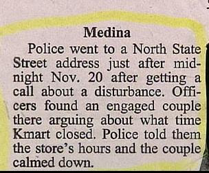 funny story in newspaper about couple arguing over kmart opening hours police called