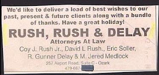 funny lawyer ads rush rush delay attorneys at law