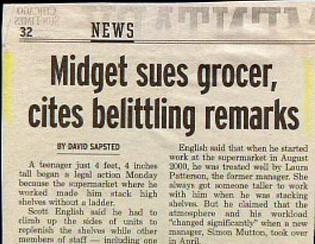 funny newspaper headline midget sues grocer belittling remarks