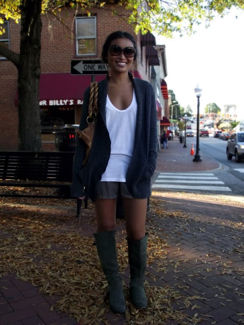 tall boots with shorts, cardigans, fall fashion, street style in Virginia