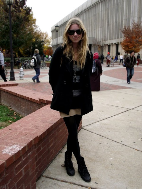 skirt boots tights and pea coat, RVA fashion, VCU fashion, Southern Fashion, Southern Street Style, Virginia Fashion, Virginia Street Style