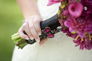 visual impact= crown brooch pink bouquet