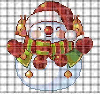 Punto de cruz muñecos de nieve con bufanda