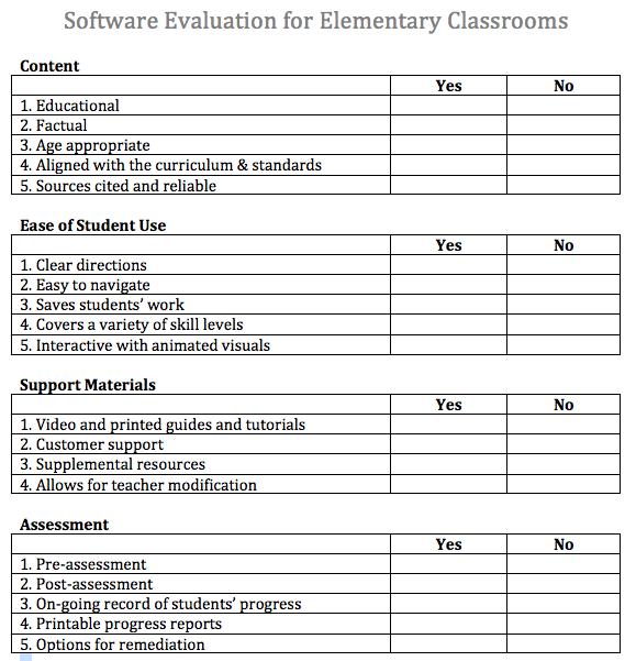 teacher tech thoughts software evaluation form. Black Bedroom Furniture Sets. Home Design Ideas