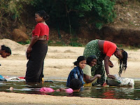 Women washing at the Bharathapuzha River