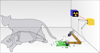 Schematic representation of Schrodinger's cat in a superposition of both dead and alive