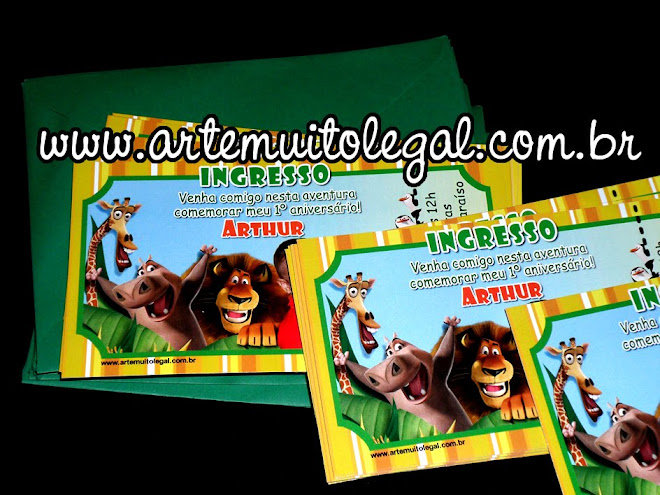 Convite ingresso personalizado no tema Madagascar
