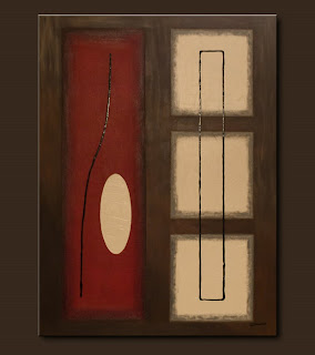 Symbols Painting-Vintage-Abstract Art Paintings by Carmen Guedez - Image