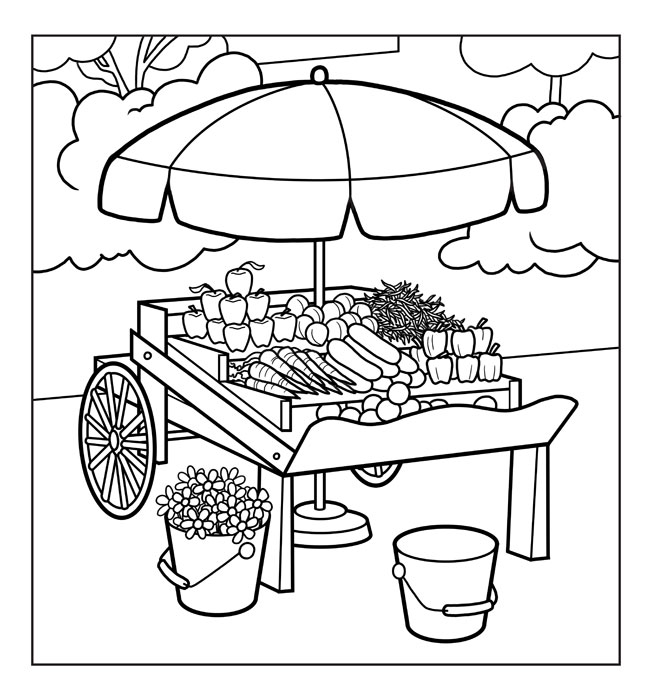 Food Market Coloring Pages Coloring Pages Market Coloring Pages