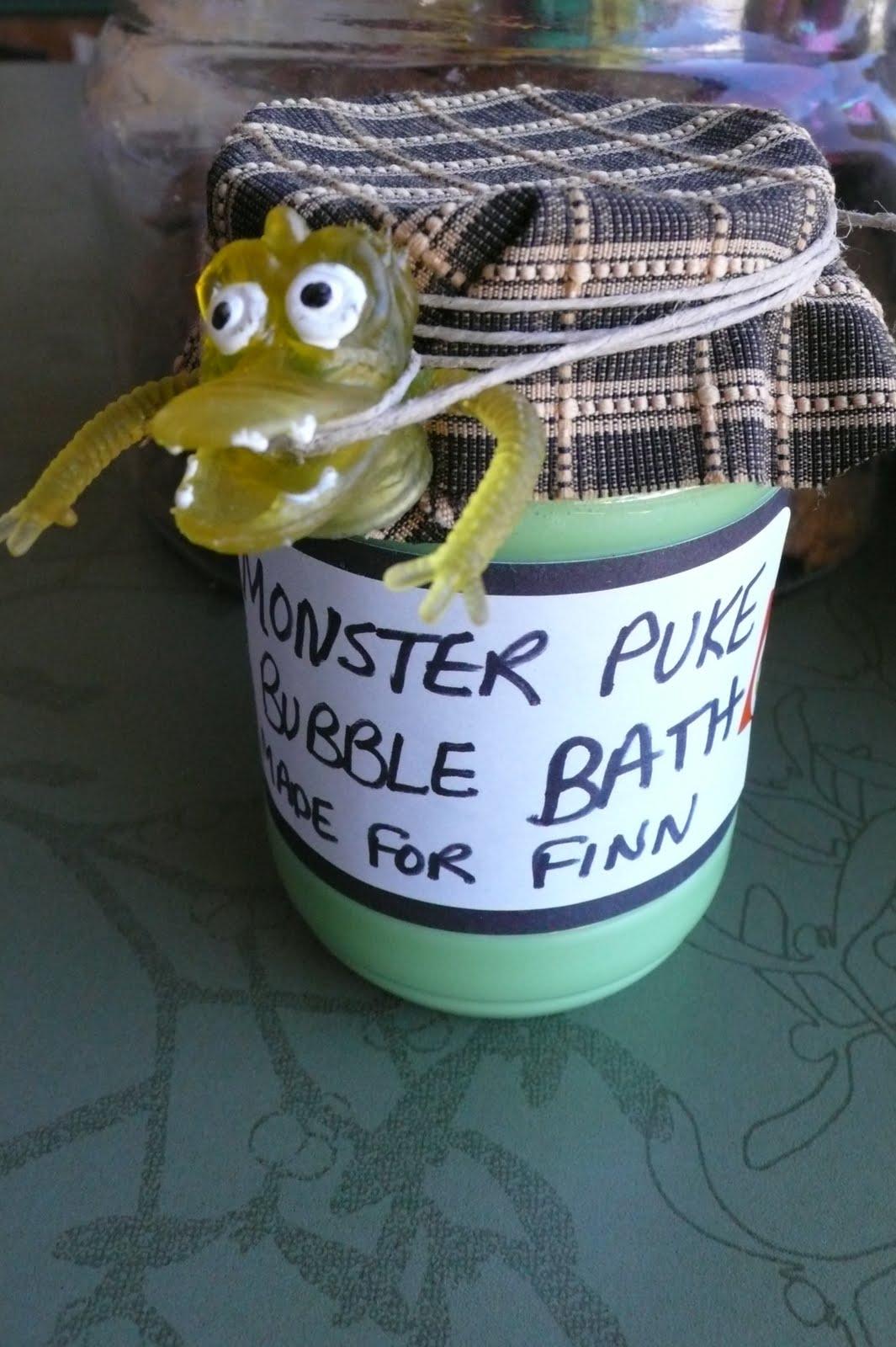 Art food and motherhood monster puke bubble bath a good for Home made bubble bath