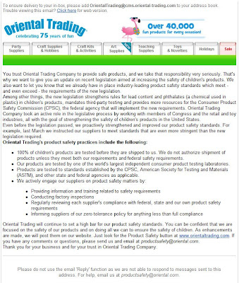 Click to view this Oriental Trading email larger