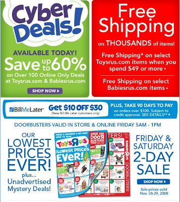 Click to view this Nov. 27, 2008 Toys R Us email larger
