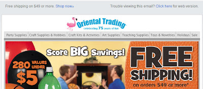 Click to view this March 6, 2009 Oriental Trading email full-sized