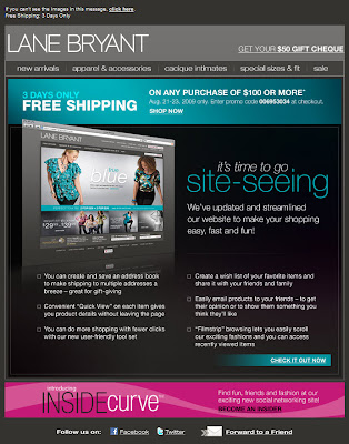 Click to view this Aug. 21, 2009 Lane Bryant email full-sized