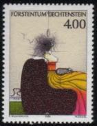 1995年リヒテンシュタイン公国 ポール・ウンダーリッヒ画「犬を連れた女性」の切手