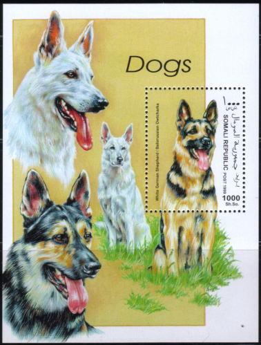 1999年ソマリア民主共和国 ジャーマン・シェパード ホワイト・スイス・シェパードの切手シート