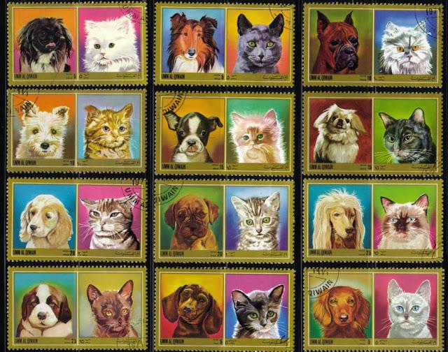 1972年ウムアルキワイン ペキニーズ(茶) ラフ・コリー ボクサー ウエスト・ハイランド・ホワイト・テリア ボストン・テリア ペキニーズ(白) コッカー・スパニエル ボクサー アフガン・ハウンド セント・バーナード ダックスフンド(スムース) ダックスフンド(ロング)と猫の切手