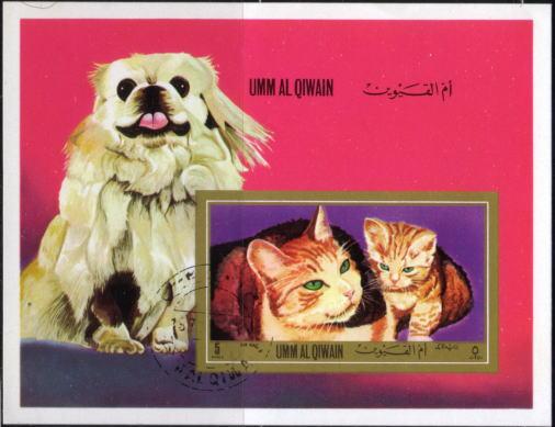 1972年ウムアルキワイン 白ペキニーズが可愛い猫の切手シート