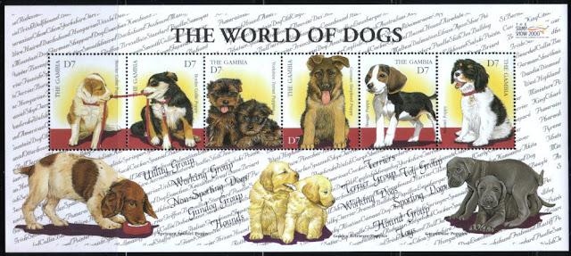 2000年ガンビア共和国  ボーダー・コリー ボーダー・コリー ヨークシャー・テリア  ジャーマン・シェパード ビーグル スパニエルの子犬の切手シート
