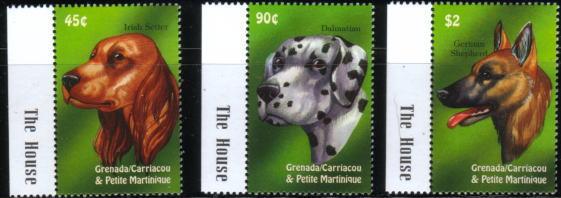 年度不明グレナダ領グレナディーン諸島 アイリッシュ・セター ダルメシアン ジャーマン・シェパードの切手