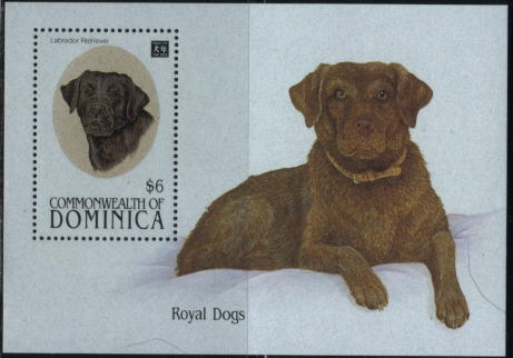1994年ドミニカ国 英国王室の犬ラブラドール・レトリーバーの切手シート