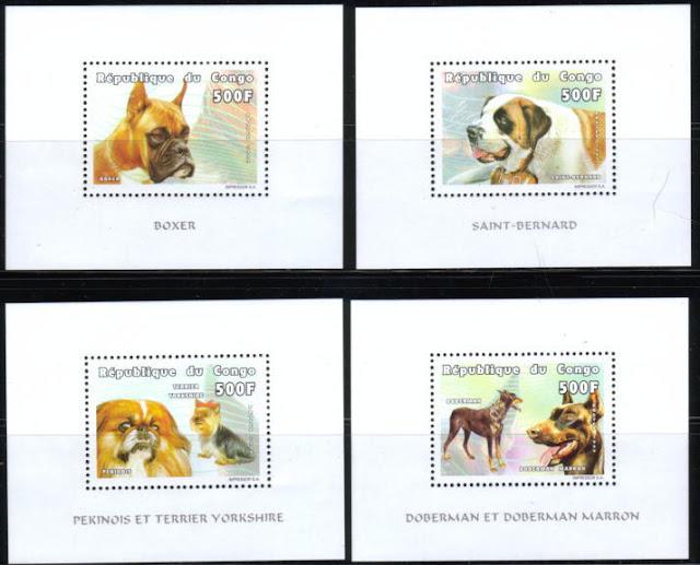 1999年コンゴ共和国 ペキニーズとヨークシャー・テリア ドーベルマン ボクサー セント・バーナードの切手