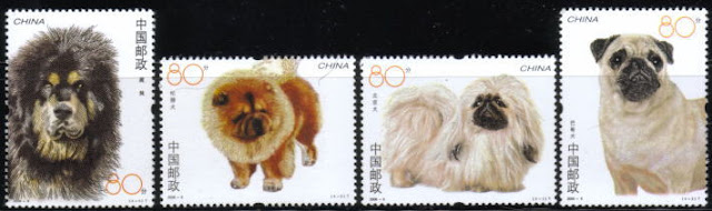 2006年中華人民共和国 チベタン・マスティフ チャウ・チャウ ペキニーズ パグの切手