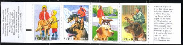 2001年スウェーデン王国 ゴールデン・レトリーバー ジャーマン・シェパード ラブラドール・レトリーバー ダックスフンドの切手帳
