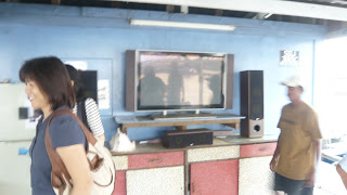 the flat screen TV on deck in the Kelong