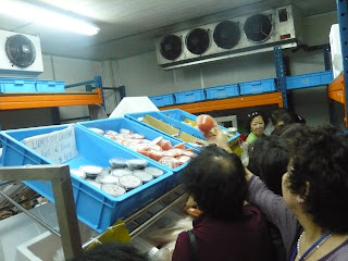 shopping for Salmon inside freezer