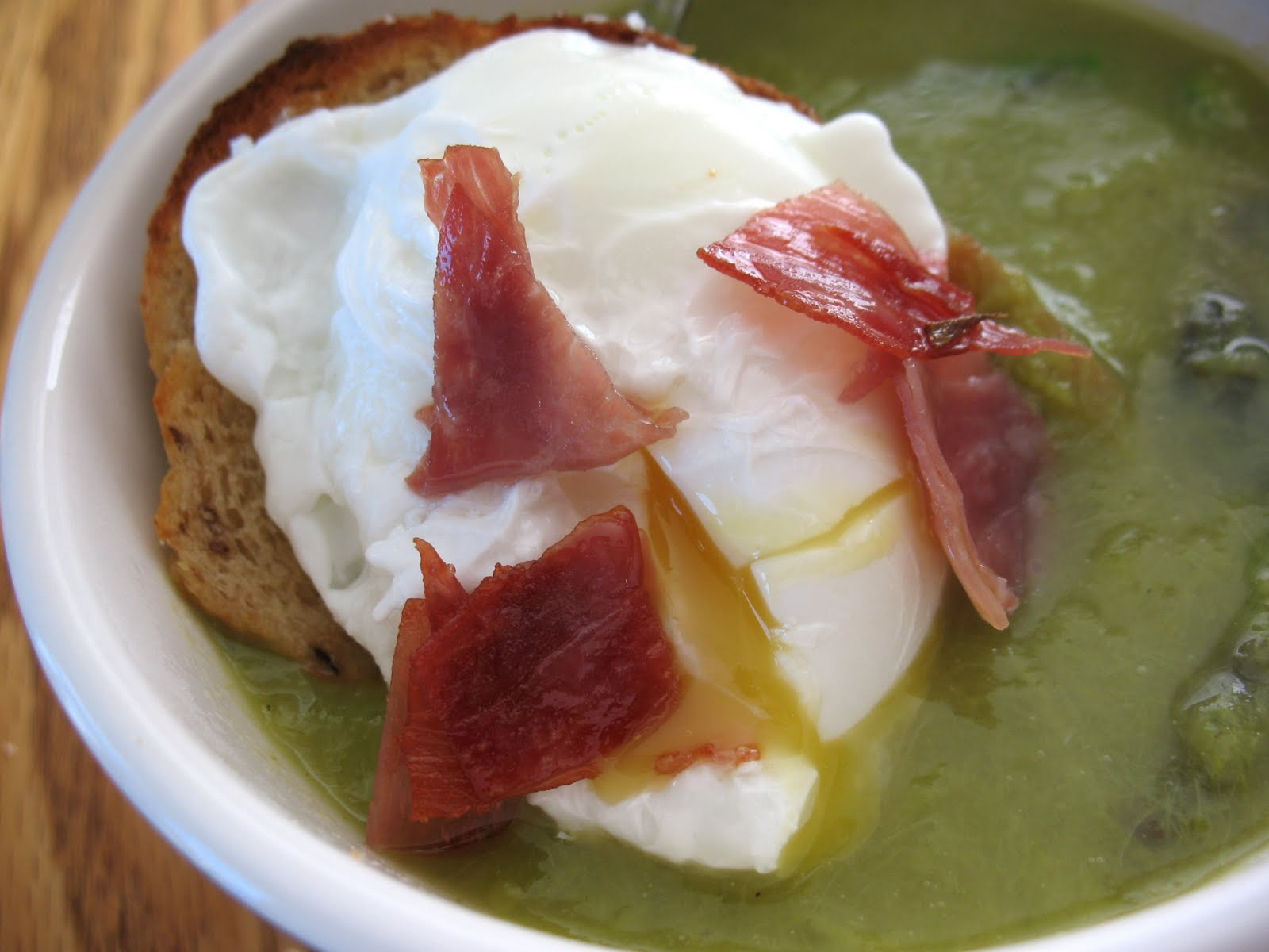 Asparagus Soup with Poached Egg on Toast ~ Chasing Tomatoes