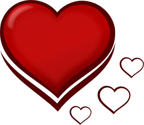 red love heart outline. clip art heart outline. clip
