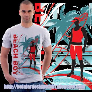 belajar design t-shirt   Beach boy t-shirt design
