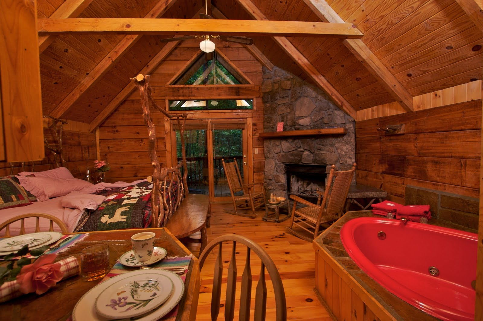 with beartree carolina cabin view hot beartreehottub tub honeymoon cabins sip mountain north