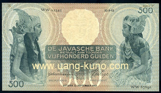 Wayang 500 gulden proof seri WW