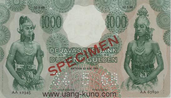 Wayang 1000 gulden SPECIMEN versi AA