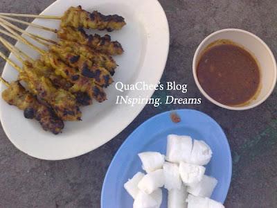 kampung food satay, ketupat