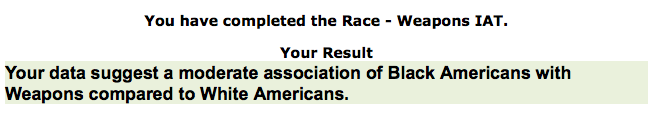 the race implicit association test essay Implicit association test (race) introduction social psychologists have long been interested in the measurement of human attitudes attitudes reflect a general evaluation of a class of individuals or objects (smith & fabringer, 2000) despite the inherent drawbacks, psychologists have traditionally used self-report measures to measure.