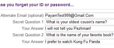 نمونه پر شده قسمت سوم فرم ثبتنام ایمیل یاهو