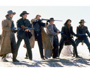 Young Guns screen shot Casey Siemaszko, Dermot Mulroney, Kiefer Sutherland, Emilio Estevez, Lou Diamond Phillips, Charlie Sheen