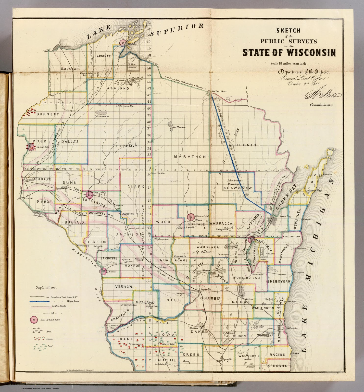 1886 general land office map showing grants for railroads and wagon roads http www davidrumsey com
