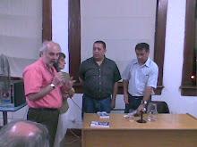 Luis D'Elia y Edgardo Depetri en el Centro Cultural Discépolo