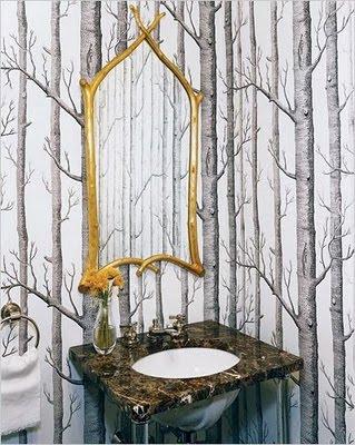 Bromeliad diy birch trees three ways fashion and home for Forest bathroom ideas