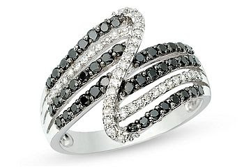 Carat Black and White Diamond 14K White Gold Ring