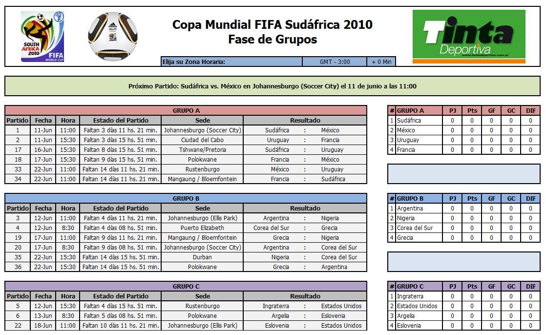 El mejor fixture en Excel para el Mundial Sud�frica 2010 - Taringa!