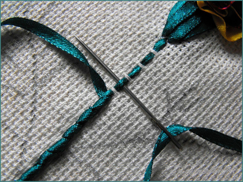 Вышиваем цветы лентами, подборка схем.